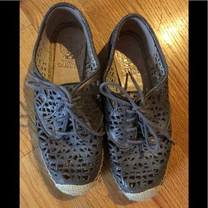 Vince Camuto Gray Dinah Leather Espadrilles